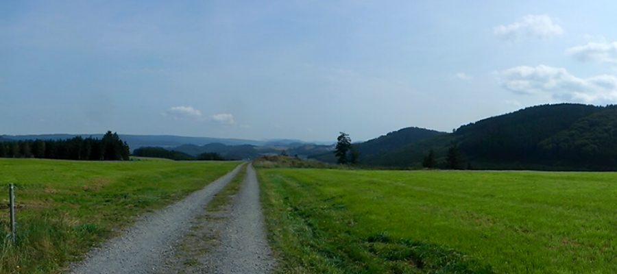 Panorama Sauerland Wanderweg Wiese Sonnenschein und blauer Himmel