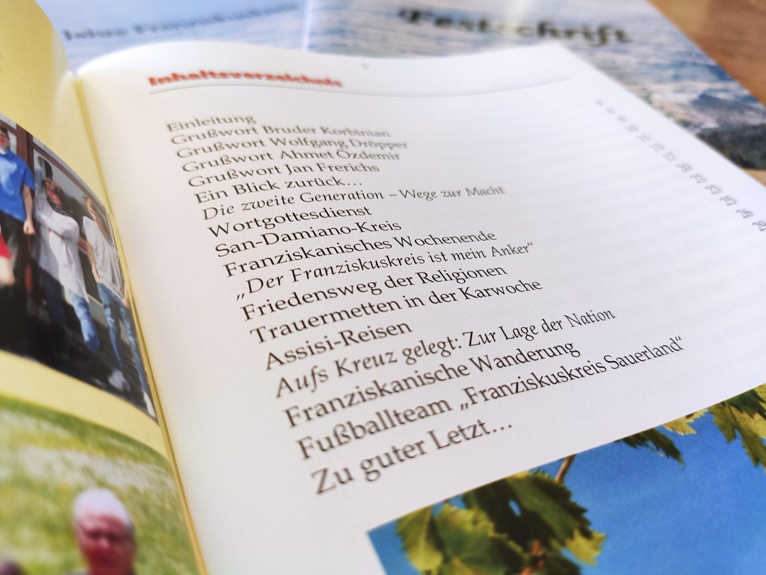 Inhaltsverzeichnis Festschrift 20 Jahre Franziskuskreis Jubiläum